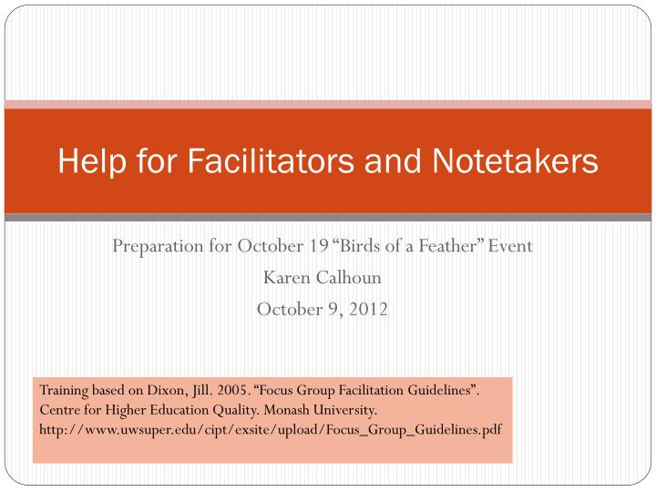 help for facilitators and notetakers n.