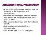 assessment oral presentation