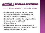 outcome 1 reading responding