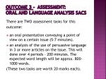 outcome 3 assessment oral and language analysis sacs
