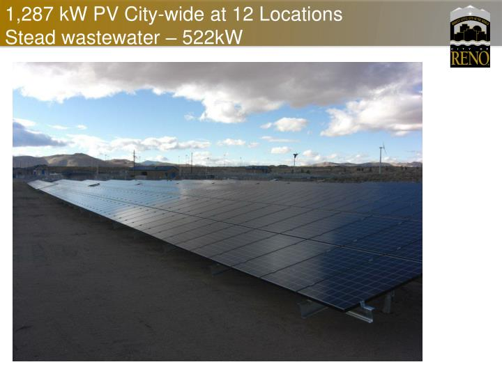 1,287 kW PV City-wide at 12 Locations Stead wastewater – 522kW