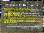 instructions for daily journals