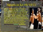 sports in lit 09 13 11