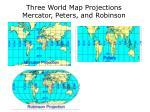 three world map projections mercator peters and robinson
