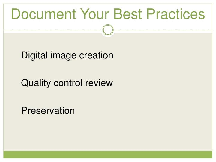Document Your Best Practices