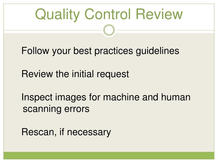 Quality Control Review