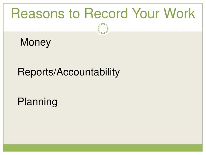 Reasons to Record Your Work