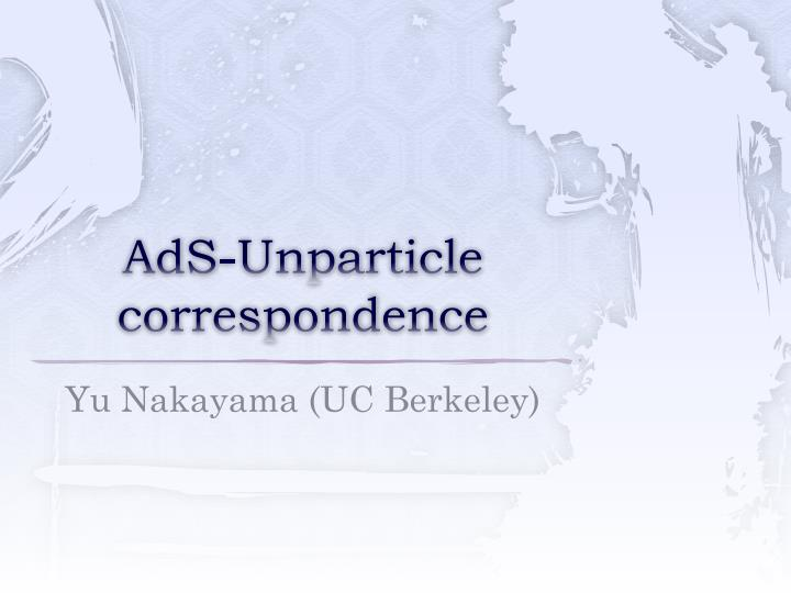 AdS-Unparticle