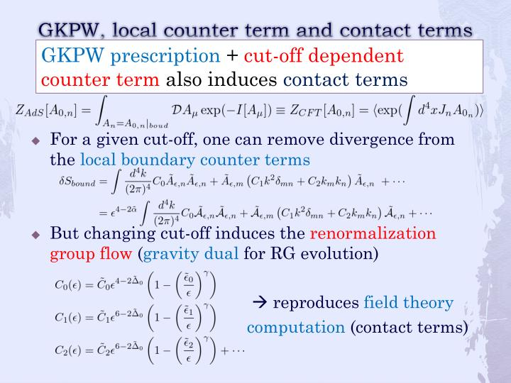 GKPW, local counter term and contact terms