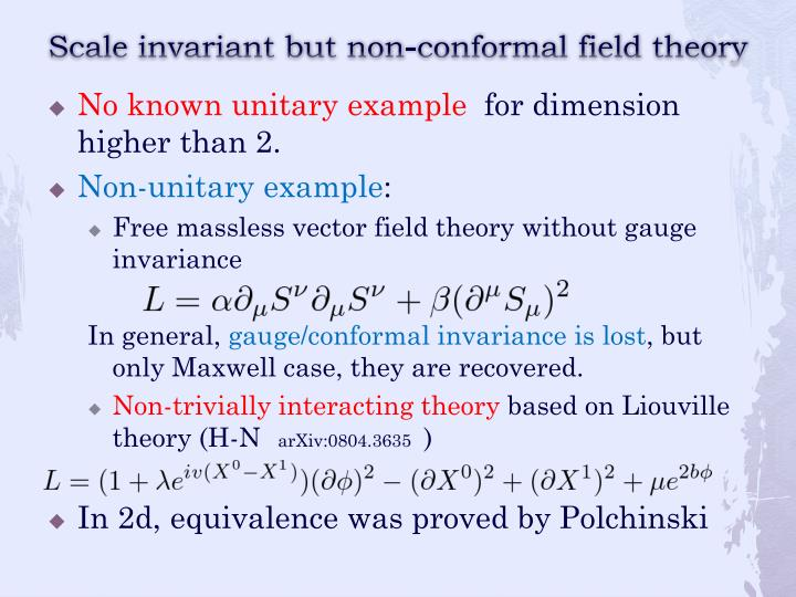 Scale invariant but non-conformal field theory