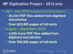 mf digitization project 2012 only