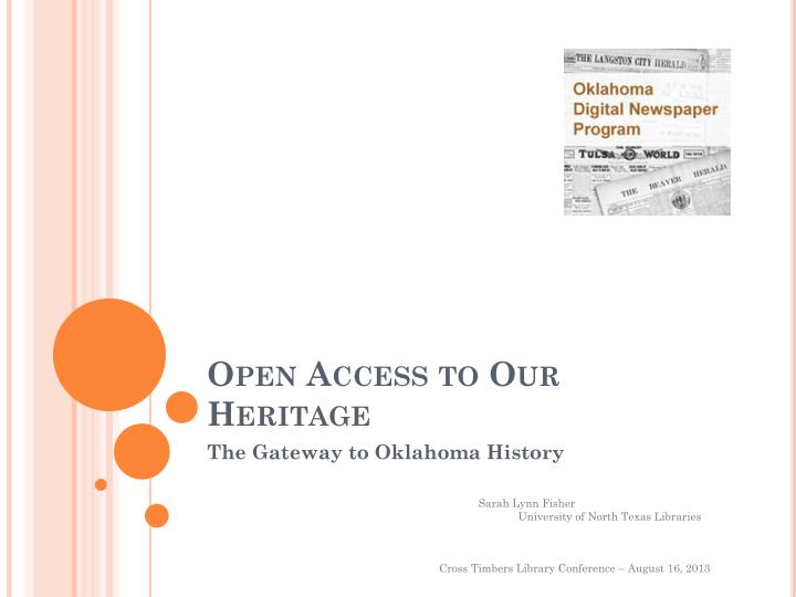 open access to our heritage n.
