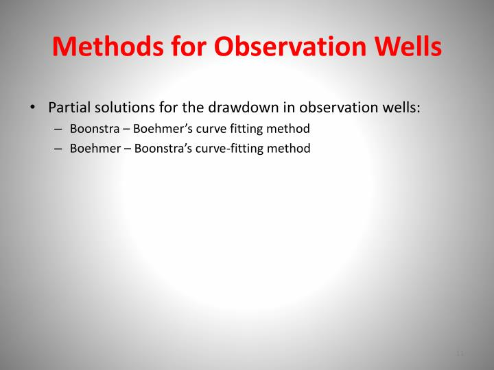 Methods for Observation Wells