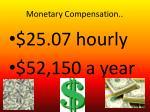 monetary compensation