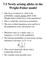 7 5 newly arising alleles in the wright fisher model