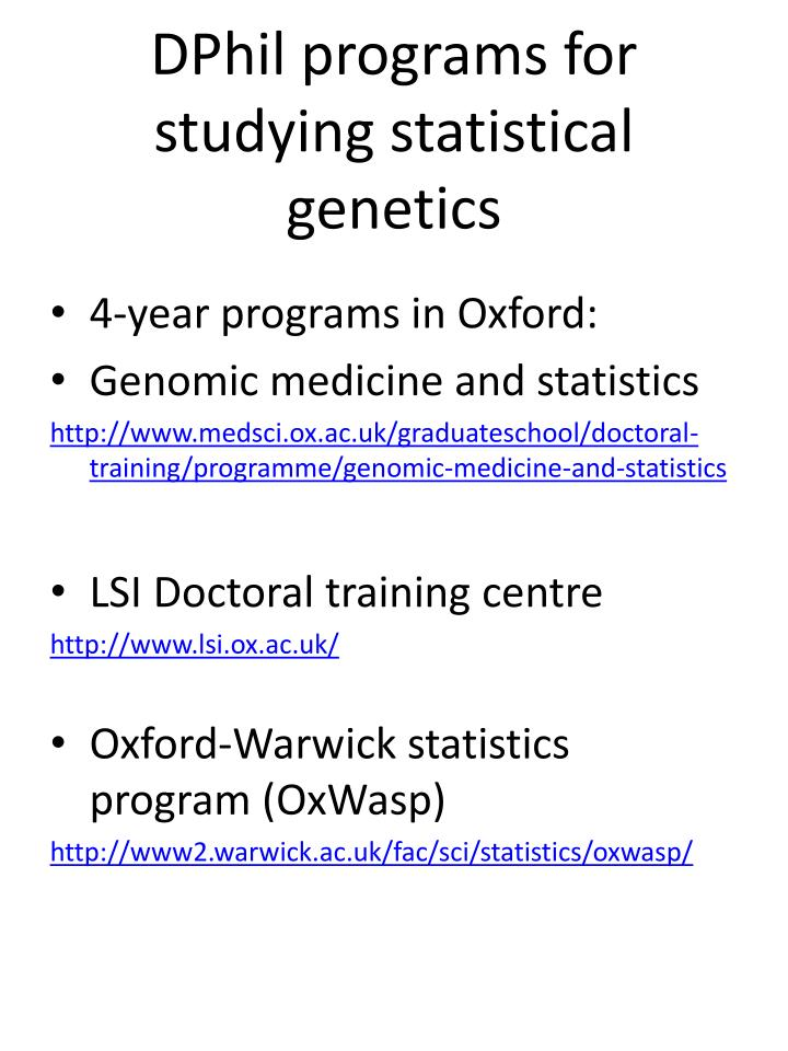 dphil programs for studying statistical genetics n.