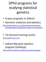 dphil programs for studying statistical genetics