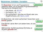 bezeichner entit ten variablen