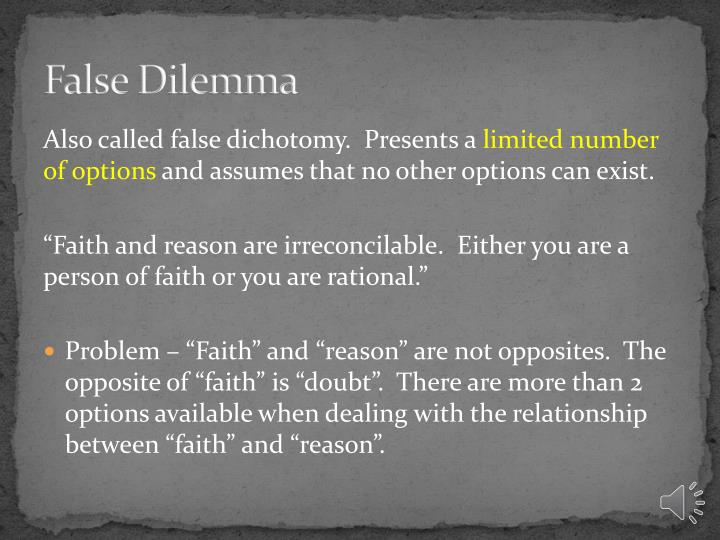 false dilemma n.