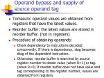 operand bypass and supply of source operand tag