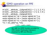 simd operation on ppe
