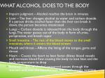 what alcohol does to the body