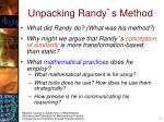 unpacking randy s method