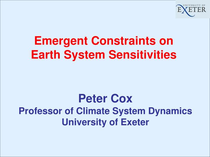 emergent constraints on earth system sensitivities n.