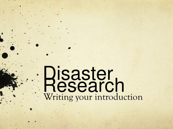 disaster research n.