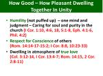 how good how pleasant dwelling together in unity