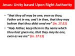 jesus unity based upon right authority