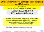 ch121a atomic level simulations of materials and molecules1