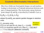 coulomb electrostatic interactions