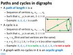 paths and cycles in digraphs