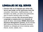 lenguajes de sql server