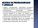 mejoras en programabilidad y lenguaje