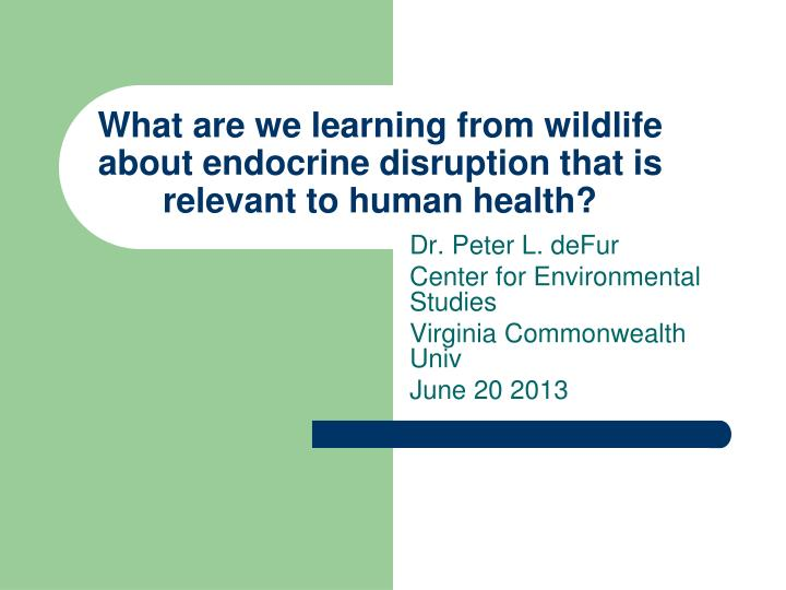 what are we learning from wildlife about endocrine disruption that is relevant to human health n.