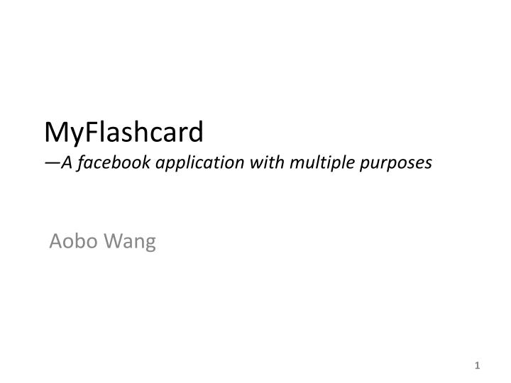 myflashcard a facebook application with multiple purposes n.