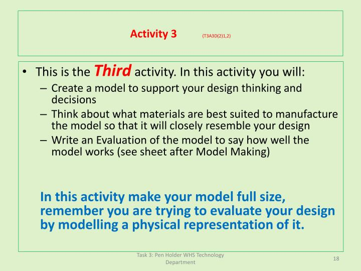 jdt2 task 3 presenter notes essay example Step 3: identify the criteria for the task examples of criteria  to identify the criteria for good performance on this task, the teacher asked herself what would good performance on this task look like she came up with seven essential characteristics for successful completion of the task:  you do not have to assess everything on.