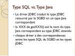type sql vs type java