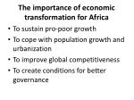 the importance of economic transformation for africa