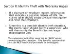 section ii identity theft with nebraska wages