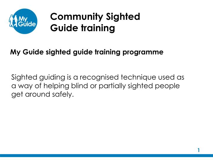 community sighted guide training n.