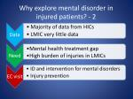why explore mental disorder in injured patients 2