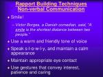 rapport building techniques non verbal communication