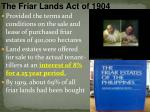 the friar lands act of 1904