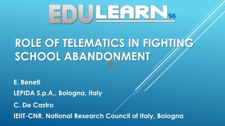 role of telematics in fighting school abandonment n.