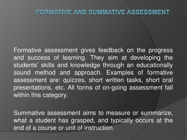 formative and summative assessment n.