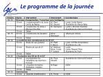 le programme de la journ e1