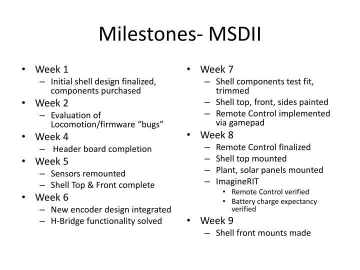 Milestones- MSDII